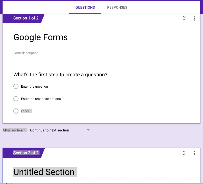 Google forms new section