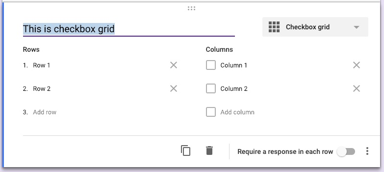 Google forms question types checkbox grid