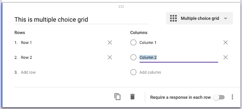 Google forms question types multiple choice grid