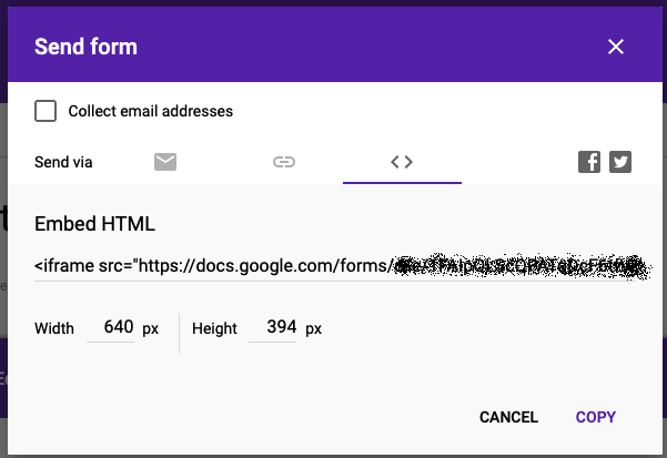 Google forms send embed